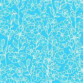 Lacey blue and white blossoms seamless pattern background