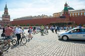 MOSCOW - MAY 19: Cyclists during the Day of the Uniform Bike Action on May 19, 2013 in Moscow. Durin