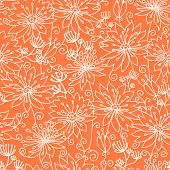 Orange and white lineart flowers seamless pattern background