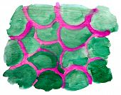 art green pink ornamental watercolor isolated for your design