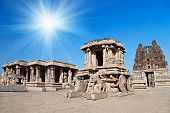 picture of chariot  - Very old Chariot in Vittala temple Hampi India - JPG