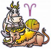 stock photo of aurochs  - pair oxen and cow to spin yarn under sign of the zodiac - JPG