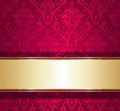 red and gold  luxury vintage wallpaper