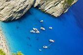 boats in bay at Zakynthos island