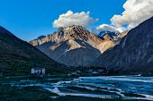 Jispa village in Himalayas on sunset. Lahaul valley, Himachal Pradesh, India