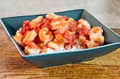 picture of creole  - Louisiana Cajon favorite Shrimp Creole on rice hot and spicy - JPG