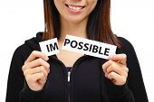 foto of impossible  - Woman break impossible text card - JPG