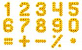 stock photo of arabic numerals  - Numerals Alphabet of yellow flowers isolated on white background - JPG