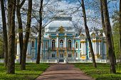 Pavilion In Catherine`s Park In Tsarskoe Selo Near Saint Petersburg