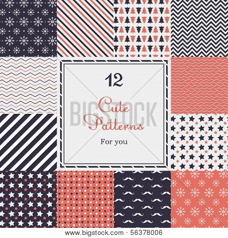 12 Cute different vector seamless patterns (tiling). poster