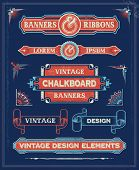 Vintage Banners and Ribbon Design Elements. Hand Drawn Retro Vector Background with removable textur