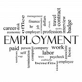 Employment Word Cloud Concept In Black And White