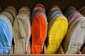 Colorful espadrilles for sale in a shop in the French Basque Country