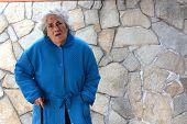 foto of hospice  - elderly woman in a dressing gown serene hospice - JPG