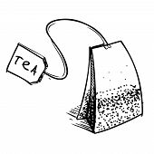 Tea bag with label
