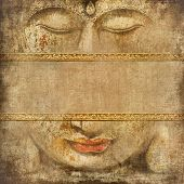 oriental background with elements of buddha face and space for text