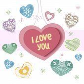 Tarjeta del día de San Valentín con corazones