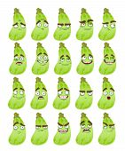 Vector cute cartoon squash smile with many expressions