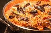 Seafood Paella In Fry Pan