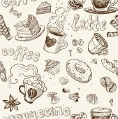 seamless pattern with coffee cakes pies latte and cappuccino