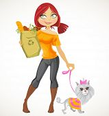 Pretty red haired girl with small dog and health food