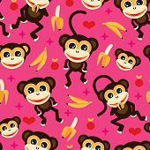 Seamless adorable kids monkey and banana illustration background pattern in vector
