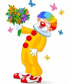 Cute Clown with bouquet of flowers