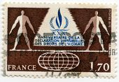 Stamp from France Human rights