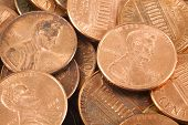 pic of copper coins  - A closeup of a collection of pennies.