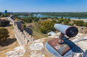 BELGRADE, SERBIA - AUG 15: Tourist binocular on walls of  Belgrade fortress on August 15, 2012 in Be