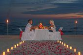 couple during romantic dinner with candles