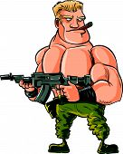 foto of trooper  - Cartoon muscle soldier with big machine gun - JPG