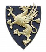 Griffin como um símbolo para um brasão de armas, isolado no branco