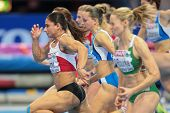 GOTHENBURG, SWEDEN - MARCH 1 Nevin Yanit (Turkey) wins the women's 60m hurdles finals during the Eur