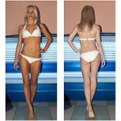stock photo of sunburn  - Beautiful slim blonde girl tans in the solarium - JPG