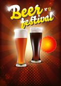stock photo of drawing beer  - Vector beer festival poster with place for your text or objects - JPG