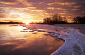 picture of fiery  - Winter landscape with lake and sunset fiery sky - JPG