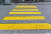 stock photo of zebra crossing  - pedestrian crossing sign on the asphalt road - JPG