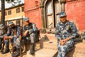 KATHMANDU, NEPAL - Oct 19: Unknown nepalese soldiers Armed Police Force near public school, Dec 19,