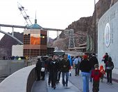 A Shot Of Tourists Visiting Hoover Dam