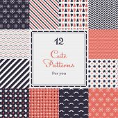 image of heart  - 12 Cute different vector seamless patterns  - JPG