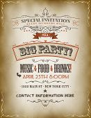 foto of prospectus  - Illustration of a retro vintage invitation poster to a big party with floral patterns sketched banners and grunge texture - JPG
