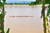 Nongkhai,thailand-oct 20:traditional Thai Long Boats Compete At Nongkhai Province At Meakhong River