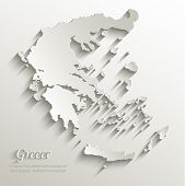 Greece map card paper 3D natural vector
