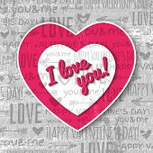 Grey Background With  Red Valentine Heart And Wishes Text,  Vector