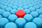 stock photo of character traits  - Standing Out From The Crowd Red sphere leading - JPG