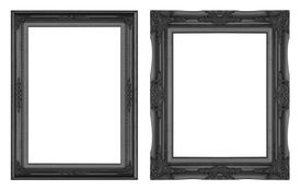 picture of carving  - Old Antique Black frame Isolated Decorative Carved Wood Stand Antique Black Frame Isolated On White Background - JPG