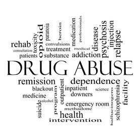 stock photo of methadone  - Drug Abuse Word Cloud Concept in black and white with great terms such as addiction heroin disease relapse and more - JPG