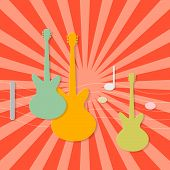 Abstract Paper Guitars on Retro Red Background