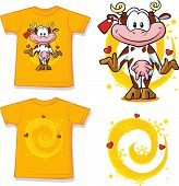 Kid Shirt With Cute Cow Printed - Isolated On White, Back And Front View